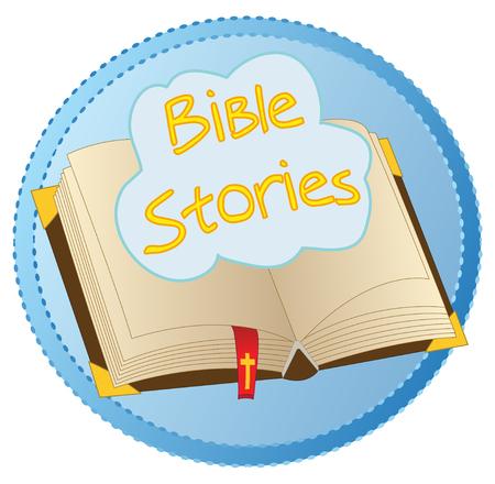"""Logotipo del vector del concepto del libro abierto de la biblia con la nube flotante con """"historias bíblicas conocidas"""", todo en una insignia azul. Vectores"""