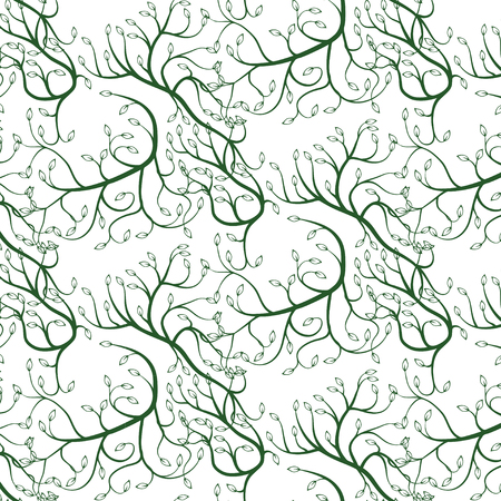 swift: Seamless vector illustration of green curly vines with leaves; computer graphics