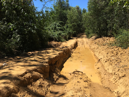 washed out: dirt road eroded with rain in Vietnam