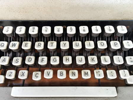 tapper: closeup shot of keyboard of outdated hand typewriter  Stock Photo