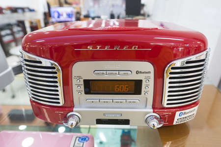 SEOUL, SOUTH KOREA - MARCH 26, 2017: Stereo speaker Teac SL-D930 for sale at a store in the Hyundai IPark Shopping Mall. TEAC Corporation is an electronics company based in Japan, was founded in 1953. Editorial