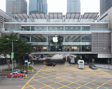 occupying: HONG KONG - MAR 17, 2017: The first Apple Store in Hong Kong, being the 100th overseas store outside the United States opened on September 24, 2011, occupying Podium 1 and 2 of IFC Mall. Editorial