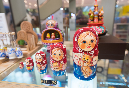 SEOUL - MARCH 29, 2017: Matryoshkas, russian dolls, for sale in the Hyundai IPark shopping mall, the biggest shopping complex in South Korea. Editorial