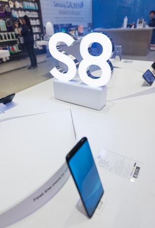 manufacturer: KUALA LUMPUR - JUNE 16, 2017: Samsung Galaxy S8 smartphones for sale in the Pavillion mall. They are Android smartphones manufactured and marketed by Samsung Electronics. Editorial