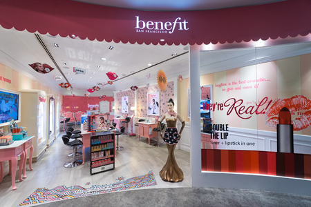 lvmh: KUALA LUMPUR - JUNE 15; 2017: Benefit cosmetics showroom at Sephora store in Bukit Bintang. Benefit Cosmetics LLC is a US manufacturer of cosmetics. It is a subsidiary of LVMH
