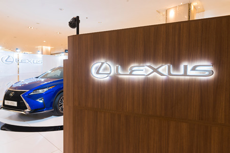 KUALA LUMPUR - JUNE 15, 2017: Lexus boutique in Pavilion mall. Lexus is the luxury vehicle division of Japanese car maker Toyota that has become Japans largest selling make of premium cars. 에디토리얼