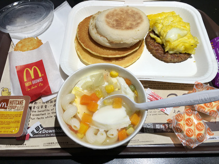 HONG KONG - MARCH, 2017: Top view of deluxe breakfast at a McDonalds in Peking Road. McDonalds Corporation is the worlds largest chain of hamburger fast food restaurants serving 68 mln clients daily