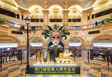 MACAU, CHINA - SEPT 2017: The interior of the Venetian Macao. It is a luxury hotel and casino resort in Macau owned by the American Las Vegas Sands company