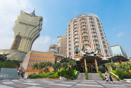 MACAU - SEPTEMBER 2017: The exterior of the Grand Lisboa hotel, the tallest building in Macau and the most distinctive part of its skyline