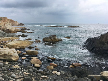 Da Dia Reef in Phu Yen with basalt rocks, Vietnam