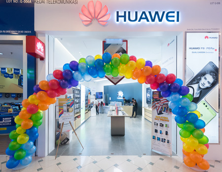 KUALA LUMPUR - SEPTEMBER 2017: The Huawei store in Plaza Low Yat. Huawei Technologies, headquartered in China, is the largest telecommunications equipment manufacturer in the world. Editoriali