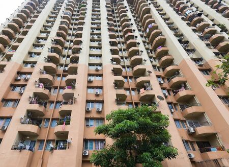 apartment high rise building, low angle view