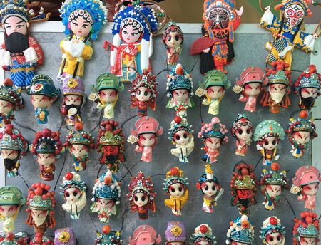 Cantonese opera character magnet souvenirs for sale in Hong Kong Reklamní fotografie