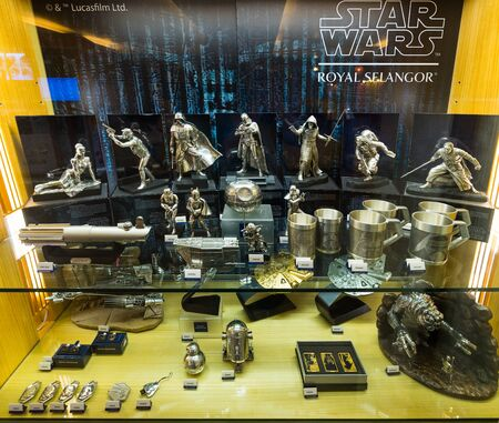 KUALA LUMPUR - SEPTEMBER 12, 2017: Star Wars pewter figurines by Royal Selangor at Central market. Royal Selangor is a Malaysian pewter manufacturer and retailer, the largest of its type in the world. Sajtókép