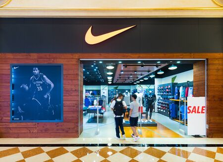 MACAU, CHINA - SEPT 2017: Nike store at the Venetian Macao. It is a luxury hotel and casino resort in Macau owned by the American Las Vegas Sands company Editorial