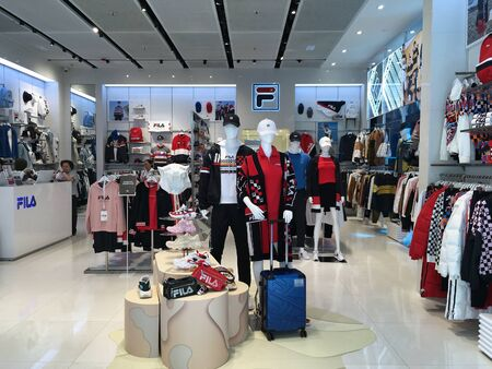 HONG KONG - SEPTEMBER 21, 2019: Fila store at the iSquare shopping centre in Peking Road. Fila is an Italian sporting goods brand and company owned now by Fila Korea.
