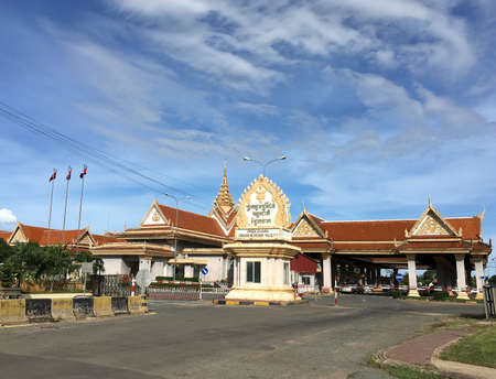 THKOV, CAMBODIA - JUNE 27, 2020: Prek Chak International Border Check Point. Located by Ha Tien, Vietnam, it is almost empty because of national lockdowns of the two countries.