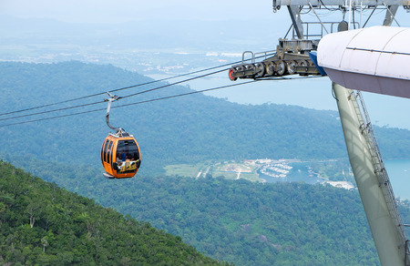 langkawi island: Cable car with panoramic background of Langkawi Island
