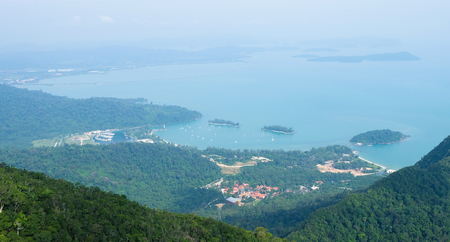 langkawi island: Panoramic view of Langkawi island, not clear weather Stock Photo