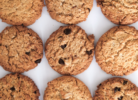 Whole wheat chocolate chip cookies Stock Photo