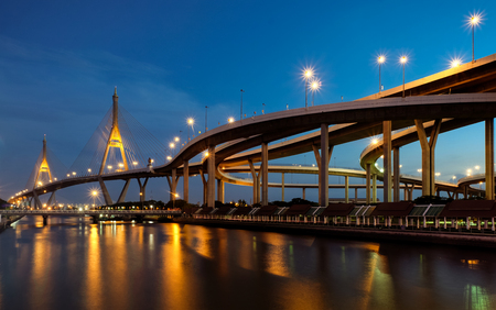 Bhumibol bridge, beautiful suspension bridge in Bangkok, Thailand Stock Photo