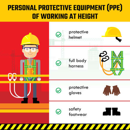 Personal Protective Equipment for Working at Height. Industrial and construction work safety