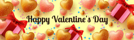 Happy valentines day banner for greeting card, website , posters, ads, promotional material.