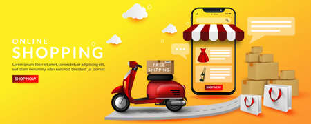 Online shopping with illustrations on the delivery of goods using a motorcycle, for digital marketing on website and mobile application