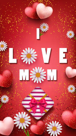 I love mom, template with beautiful flowers