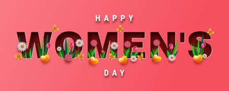 Banner or greeting card design for International Women's day, 3d paper cut letters with spring flowers and rose Ilustrace