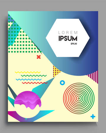 Minimalistic Cover design, creative concept Abstract geometric design, Memphis pattern and colorful background. Applicable for placards, brochures, posters, covers and banners. Foto de archivo