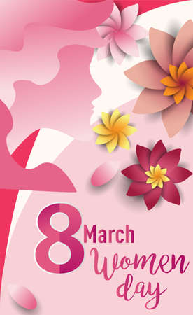 Women Day 8 March text lettering on flowers pattern background for greeting card, invitation card. women day celebration. Vettoriali