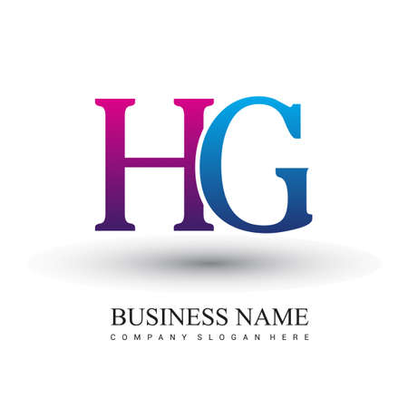 initial letter logo HG colored red and blue, Vector logo design template elements for your business or company identity.