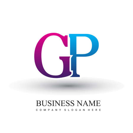 initial letter logo GP colored red and blue, Vector logo design template elements for your business or company identity. Logó