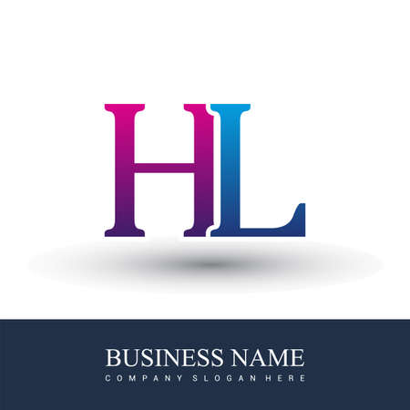 initial letter logo HL colored red and blue, Vector logo design template elements for your business or company identity. Logo