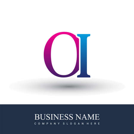 initial letter logo OI colored red and blue, Vector logo design template elements for your business or company identity.