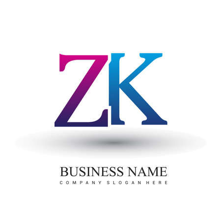 initial letter logo ZK colored red and blue, Vector logo design template elements for your business or company identity.