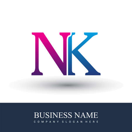 initial letter logo NK colored red and blue, Vector logo design template elements for your business or company identity. Logó