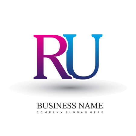 initial letter logo RU colored red and blue, Vector logo design template elements for your business or company identity.