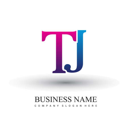 initial letter logo TJ colored red and blue, Vector logo design template elements for your business or company identity.