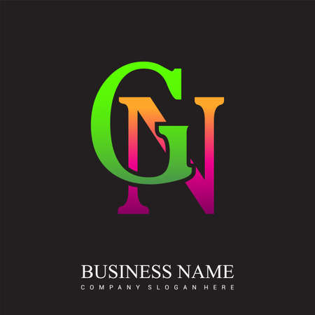 initial letter logo GN colored pink and green, Vector logo design template elements for your business or company identity.