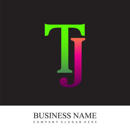 initial letter logo TJ colored pink and green, Vector logo design template elements for your business or company identity. Logó