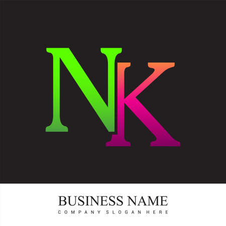 initial letter logo NK colored pink and green, Vector logo design template elements for your business or company identity. Ilustrace