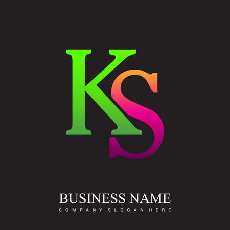 initial letter logo KS colored pink and green, Vector logo design template elements for your business or company identity. Logó