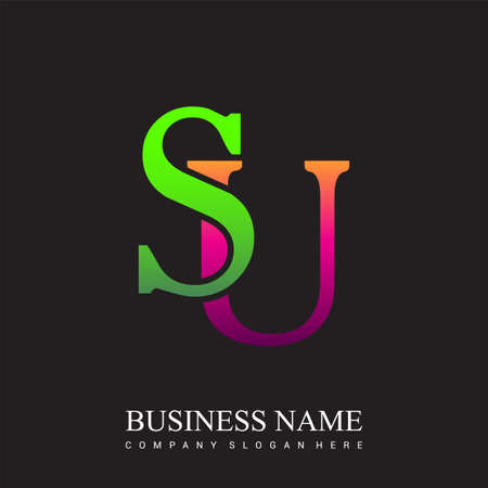 initial letter logo SU colored pink and green, Vector logo design template elements for your business or company identity.