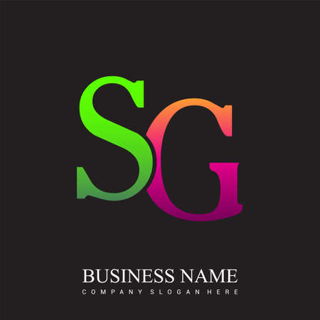 initial letter logo SG colored pink and green, Vector logo design template elements for your business or company identity. Illusztráció