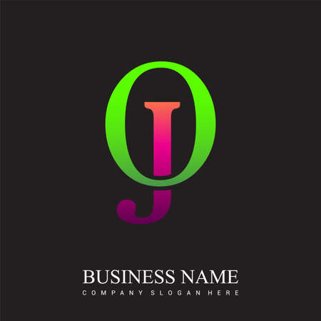 initial letter logo OJ colored pink and green, Vector logo design template elements for your business or company identity.