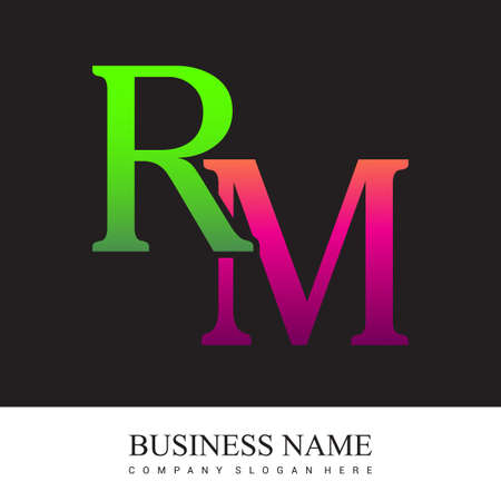 initial letter logo RM colored pink and green, Vector logo design template elements for your business or company identity. Logó