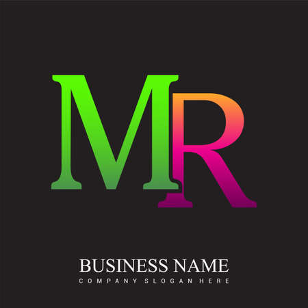 initial letter logo MR colored pink and green, Vector logo design template elements for your business or company identity.