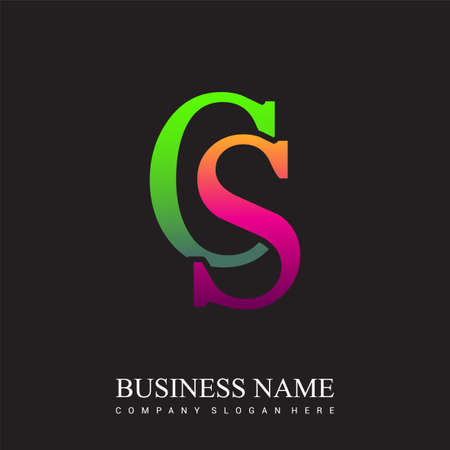 initial letter logo CS colored pink and green, Vector logo design template elements for your business or company identity.